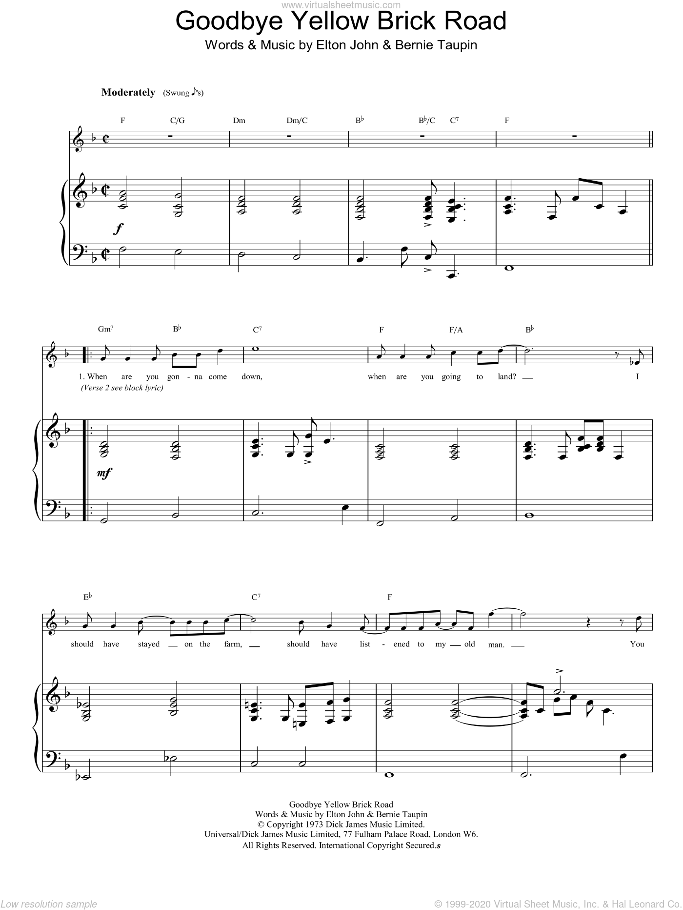 Goodbye Yellow Brick Road sheet music for voice, piano or guitar by Elton John, intermediate skill level