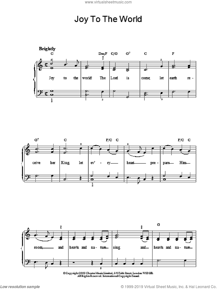 Joy To The World sheet music for piano solo by Isaac Watts and Miscellaneous, intermediate skill level