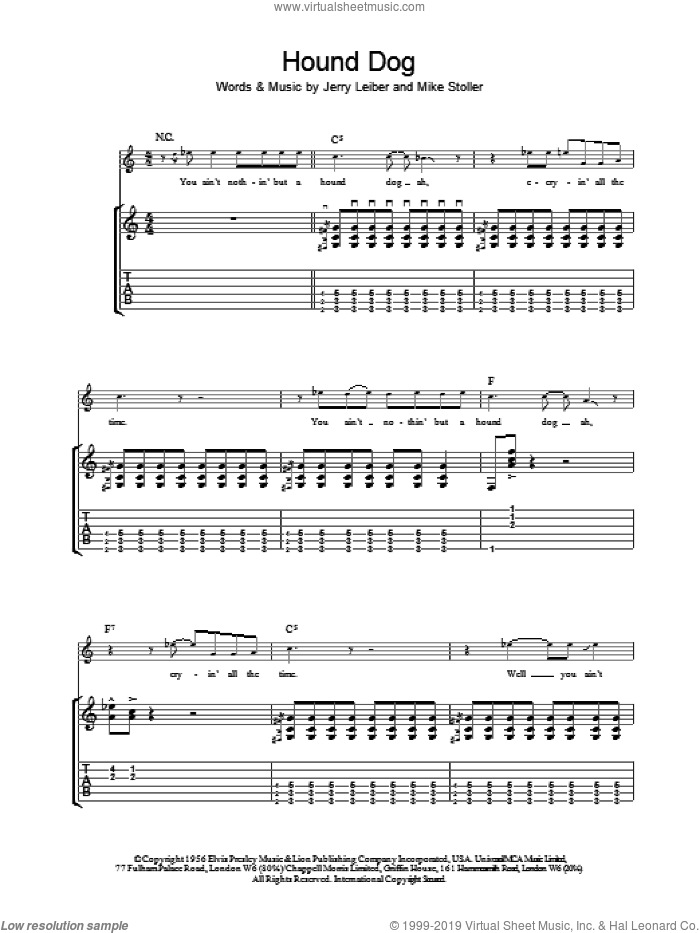 Hound Dog sheet music for guitar (tablature) by Mike Stoller, Elvis Presley and Jerry Leiber