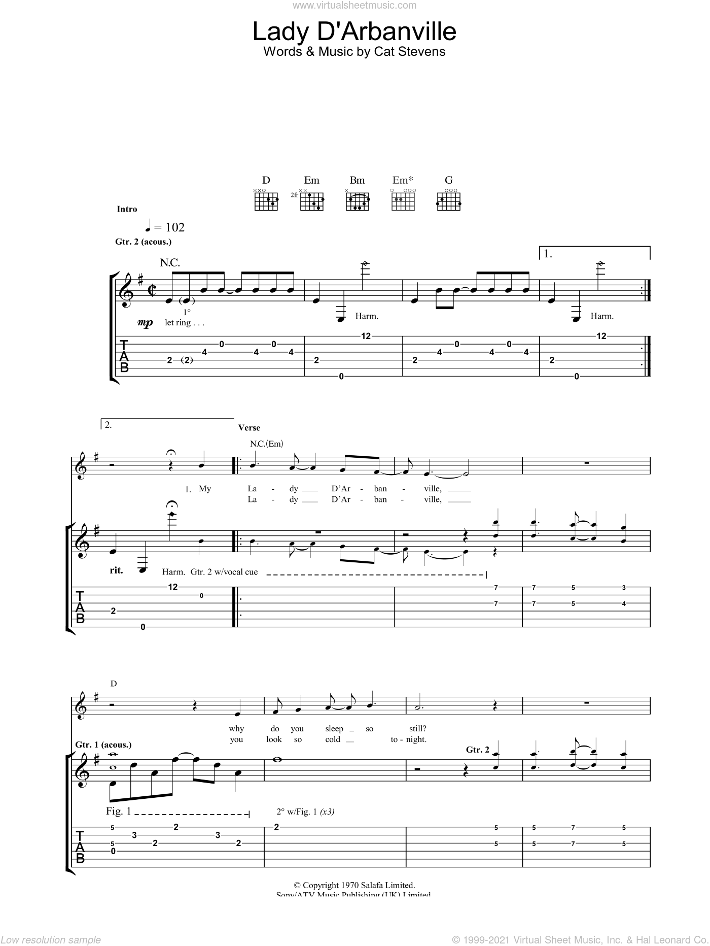 Lady D'Arbanville sheet music for guitar (tablature) by Cat Stevens, intermediate. Score Image Preview.