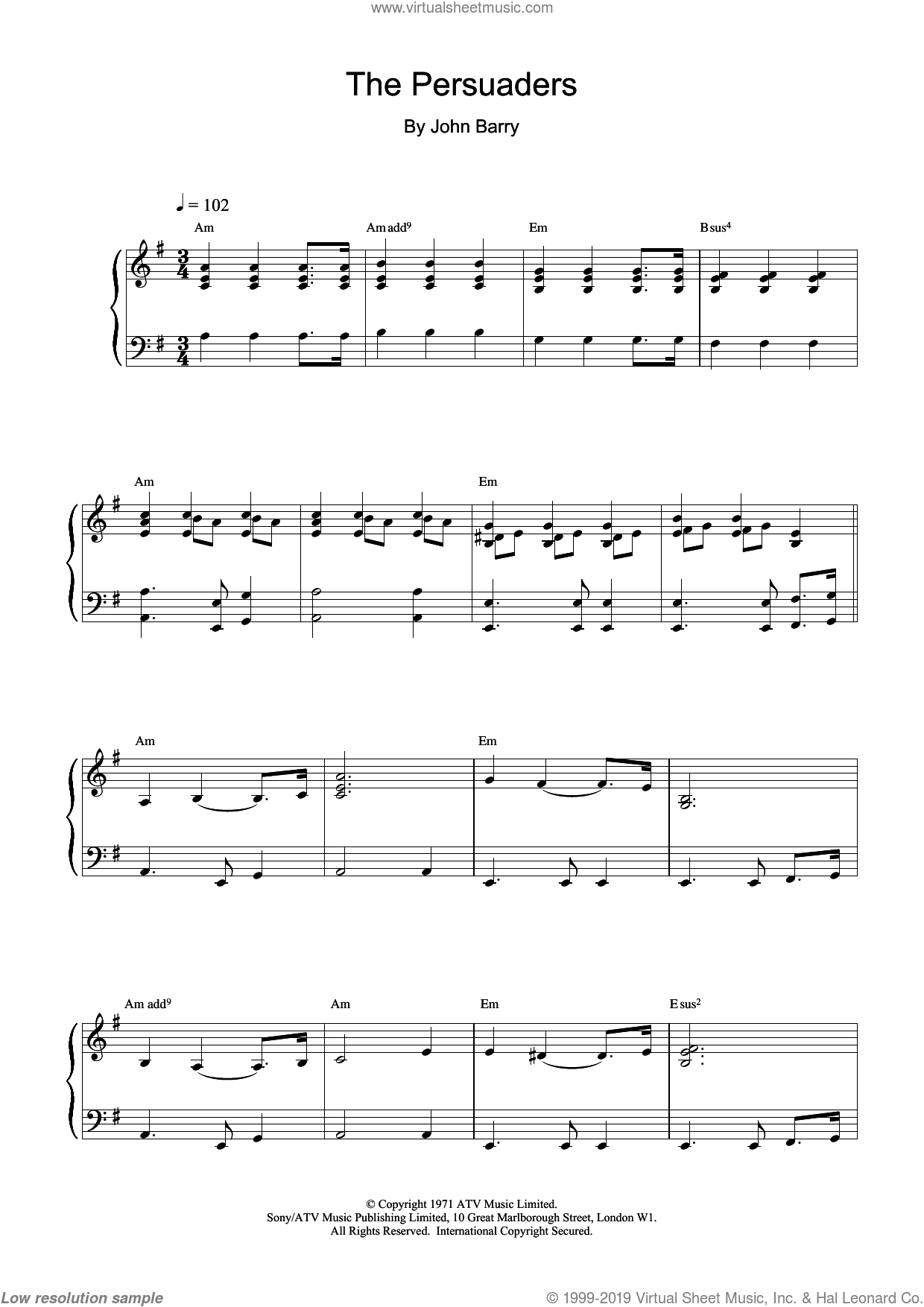 The Persuaders sheet music for piano solo by John Barry, intermediate skill level