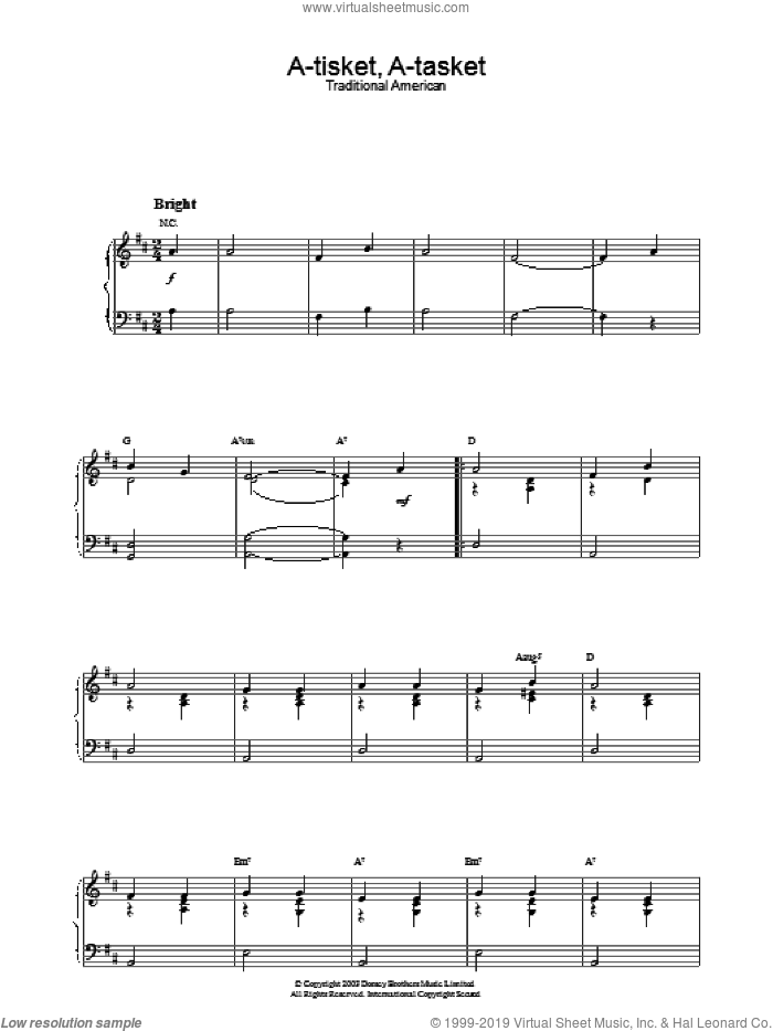 A-Tisket, A-Tasket sheet music for piano solo, intermediate skill level