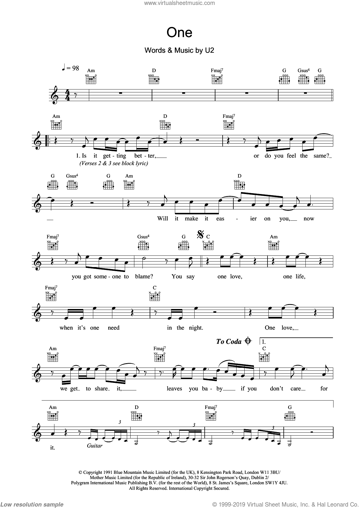 One sheet music for voice and other instruments (fake book) by U2, Adam Clayton, David Evans, Larry Mullen Jr. and Paul Hewson, intermediate skill level