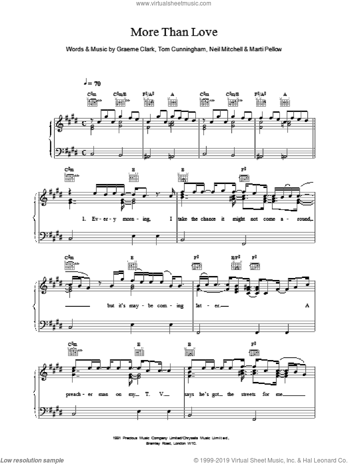 More Than Love sheet music for voice, piano or guitar by Wet Wet Wet, intermediate. Score Image Preview.