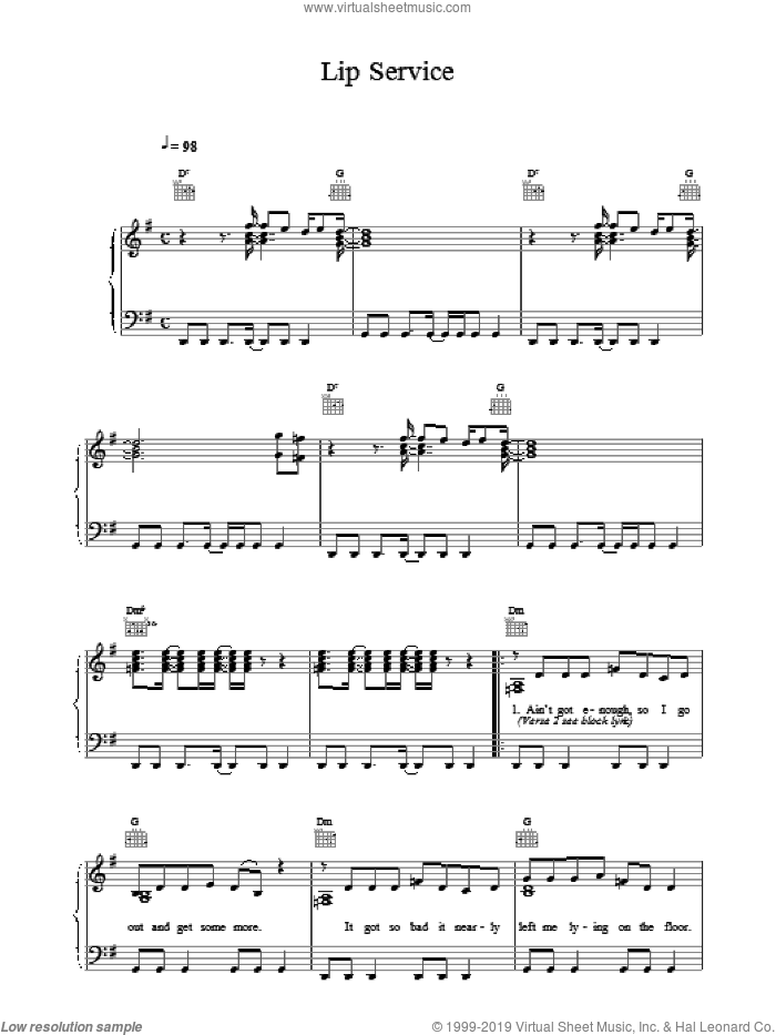 Lip Service sheet music for voice, piano or guitar by Wet Wet Wet