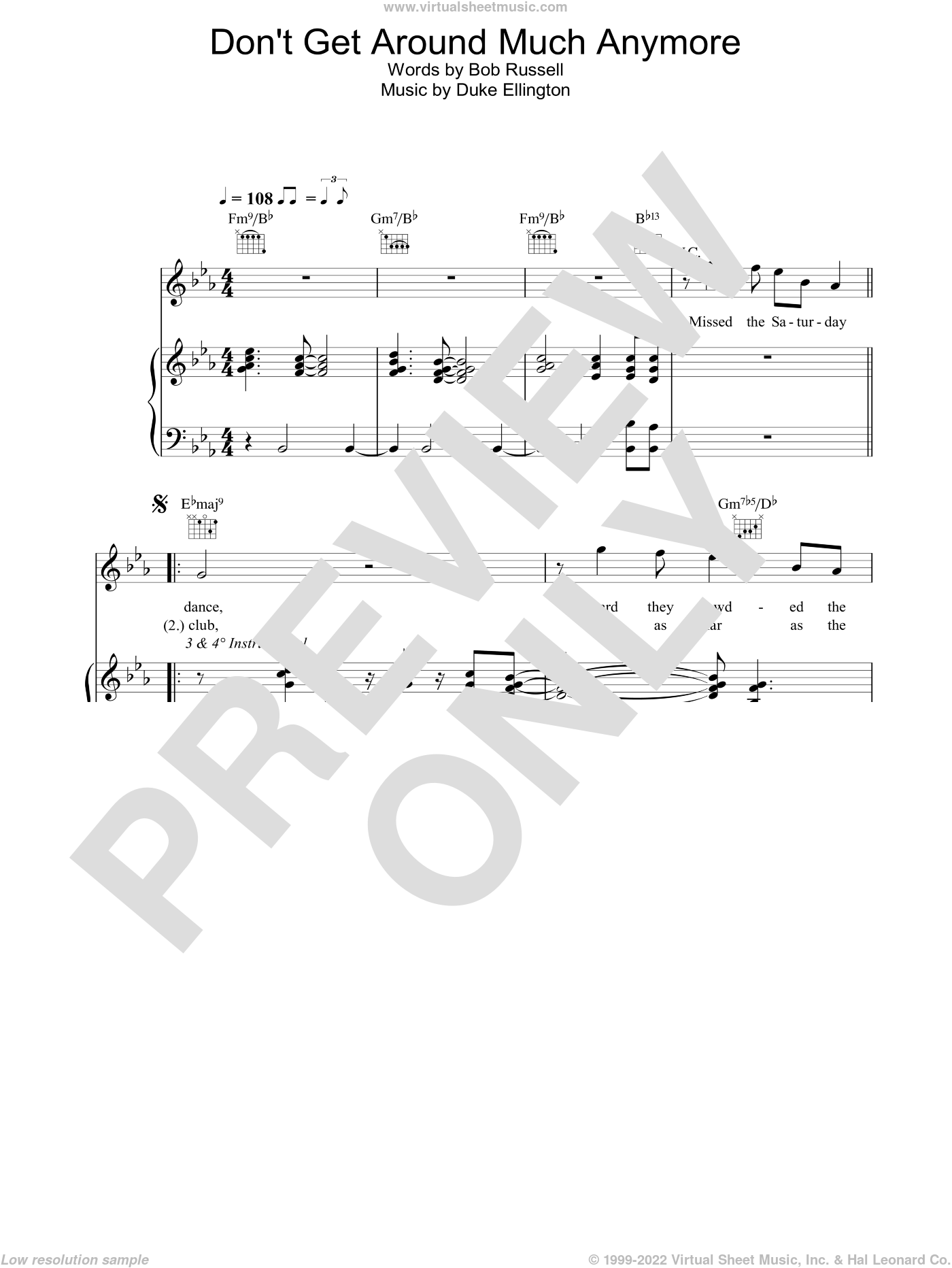 Don't Get Around Much Anymore sheet music for voice, piano or guitar by Bob Russell