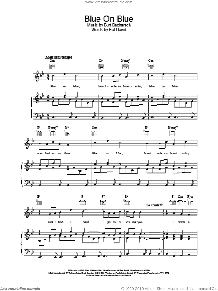 Blue On Blue sheet music for voice, piano or guitar by Burt Bacharach. Score Image Preview.