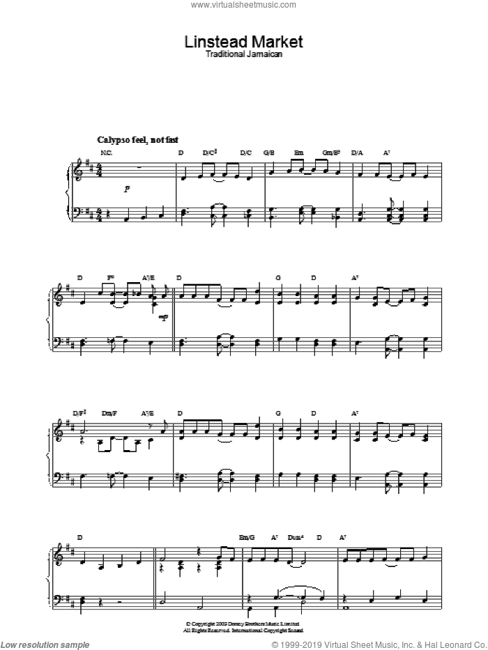 Linstead Market sheet music for piano solo. Score Image Preview.