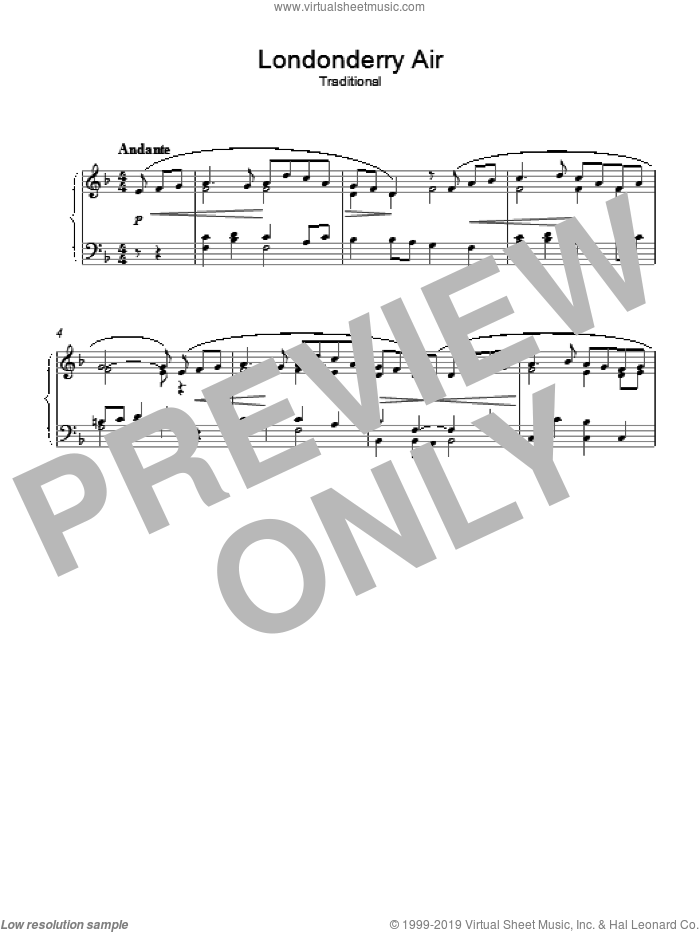Londonderry Air sheet music for piano solo, intermediate skill level