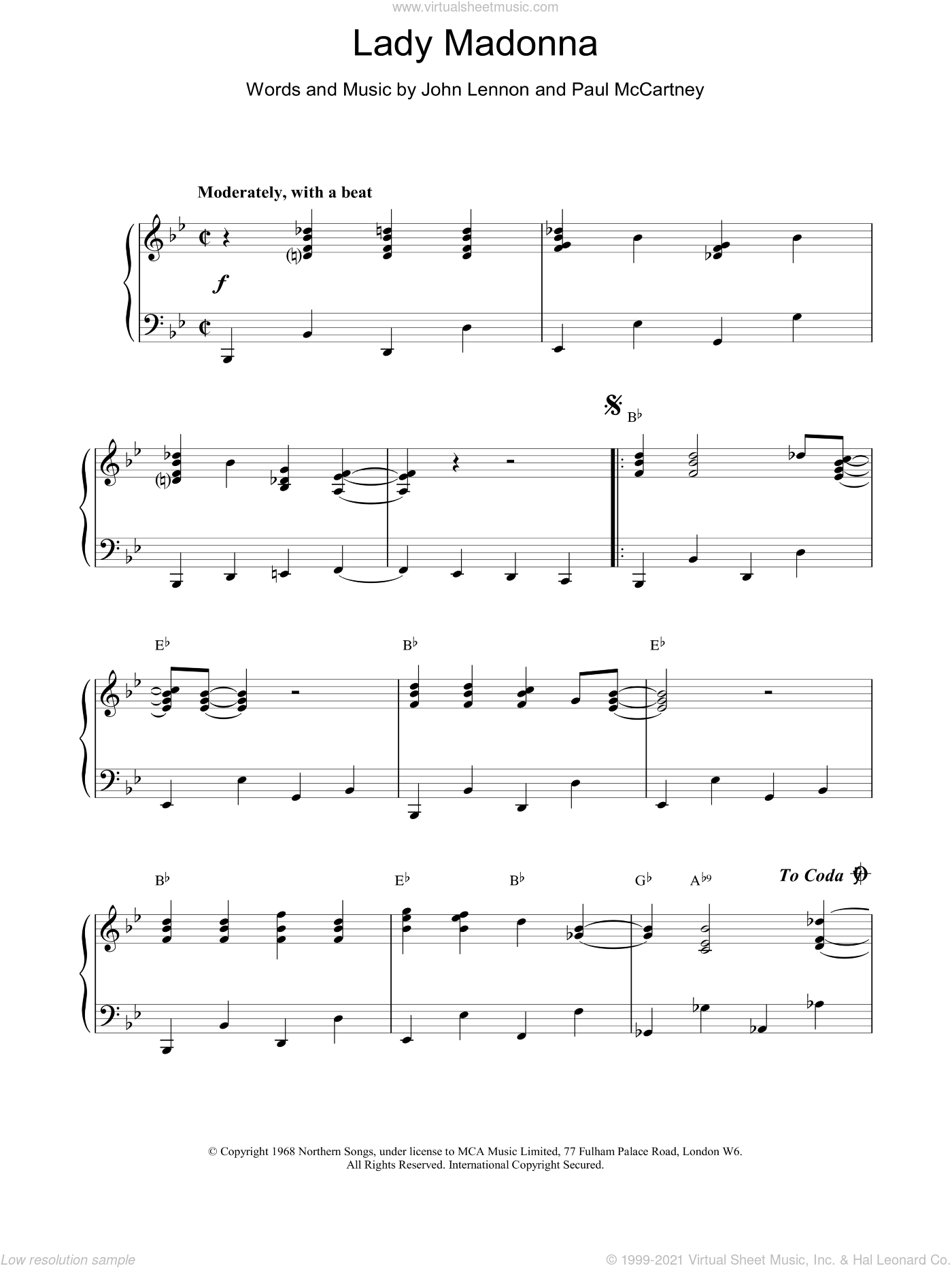 Lady Madonna sheet music for piano solo by The Beatles. Score Image Preview.
