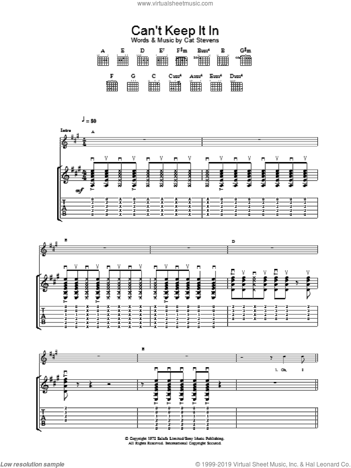 Can't Keep It In sheet music for guitar (tablature) by Cat Stevens, intermediate. Score Image Preview.