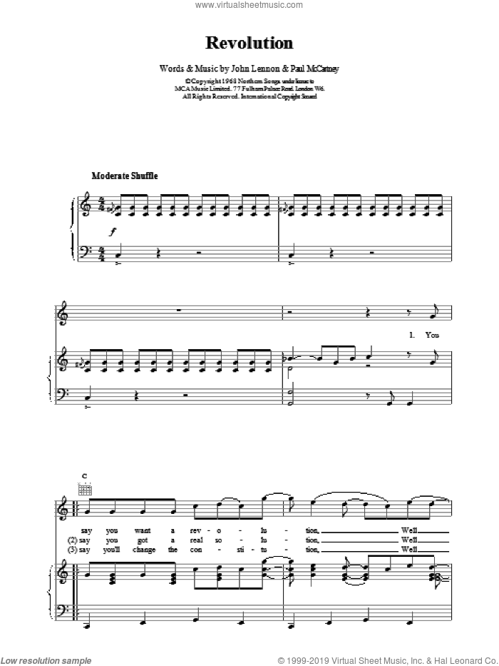 Revolution sheet music for voice, piano or guitar by The Beatles