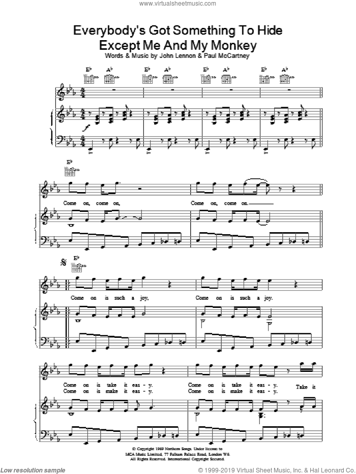 Everybody's Got Something To Hide etc. sheet music for voice, piano or guitar by The Beatles. Score Image Preview.