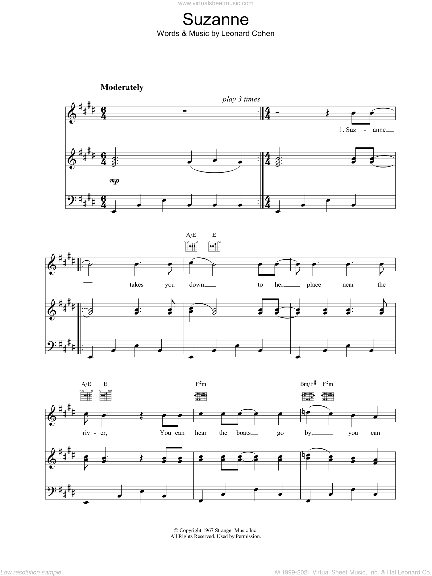 Suzanne sheet music for voice, piano or guitar by Leonard Cohen, intermediate