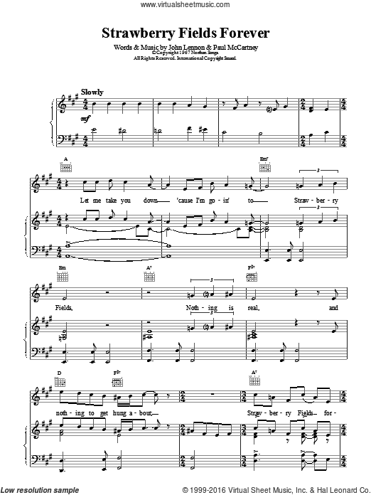 Strawberry Fields Forever sheet music for voice, piano or guitar by The Beatles