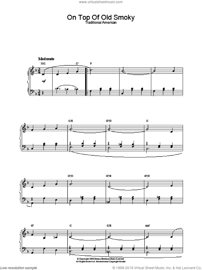 On Top Of Old Smoky sheet music for piano solo, intermediate. Score Image Preview.