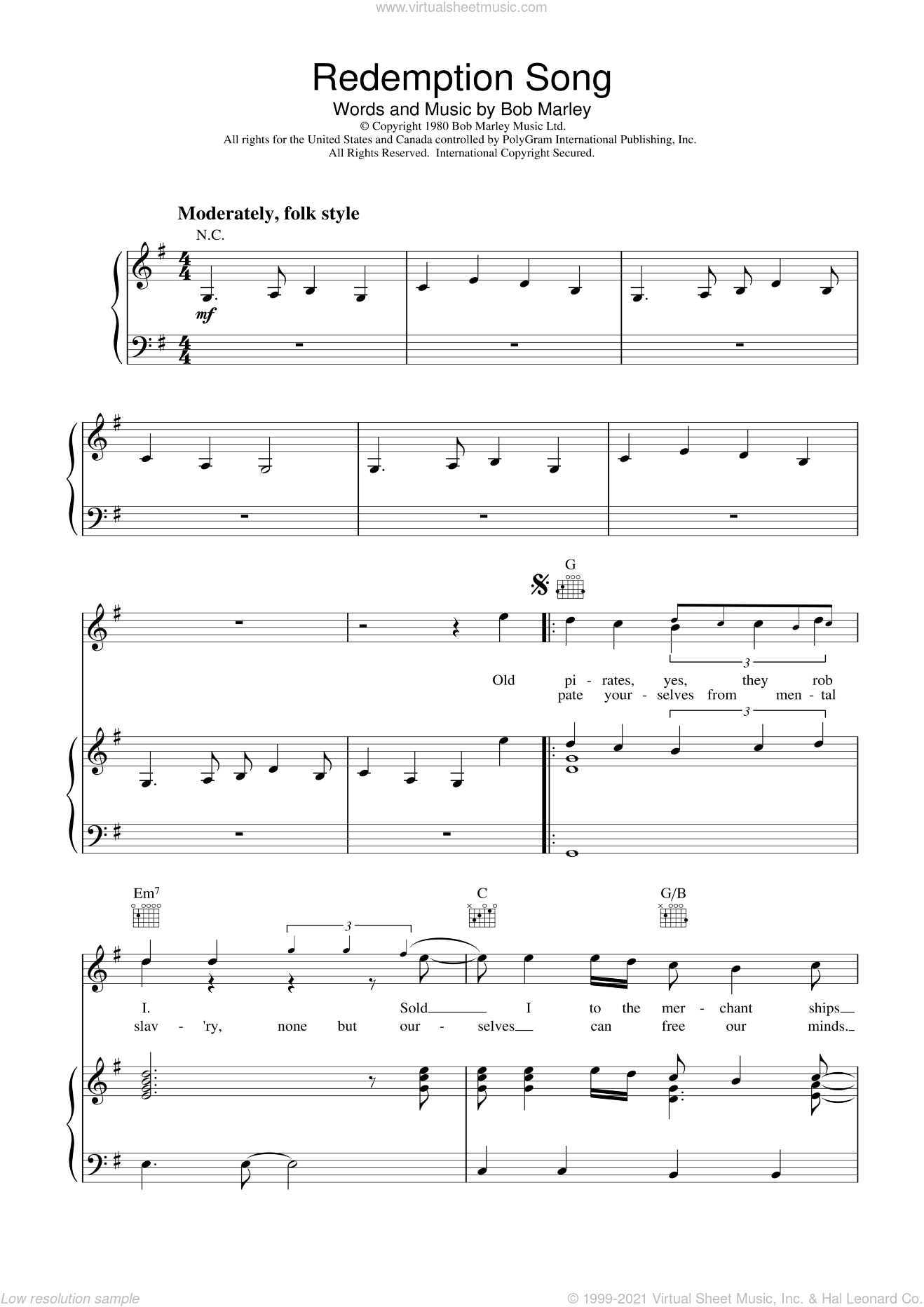 Redemption Song sheet music for voice, piano or guitar by Bob Marley, intermediate skill level