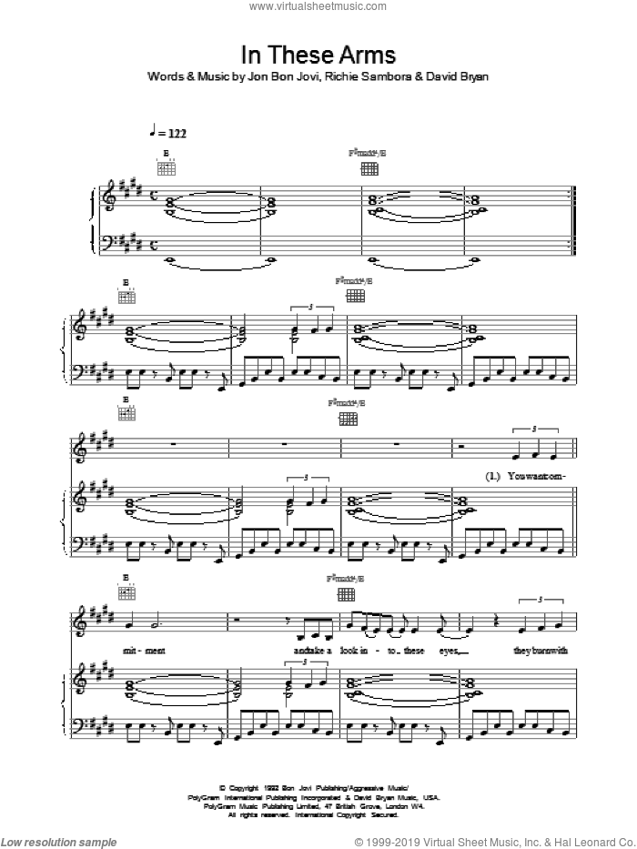 In These Arms sheet music for voice, piano or guitar by Bon Jovi, intermediate. Score Image Preview.