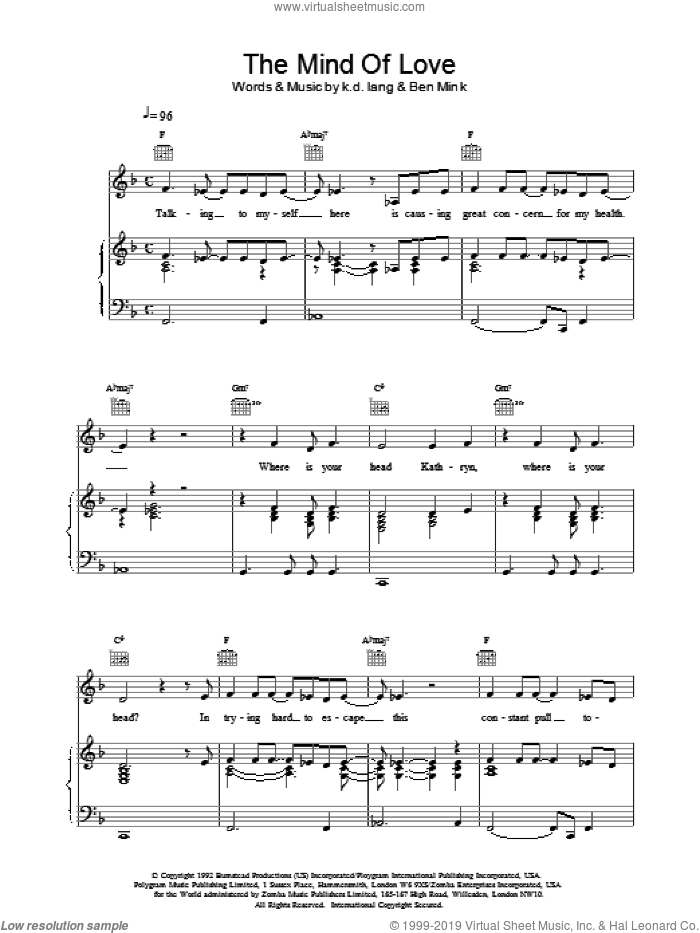 The Mind of Love sheet music for voice, piano or guitar by K.D. Lang, intermediate. Score Image Preview.