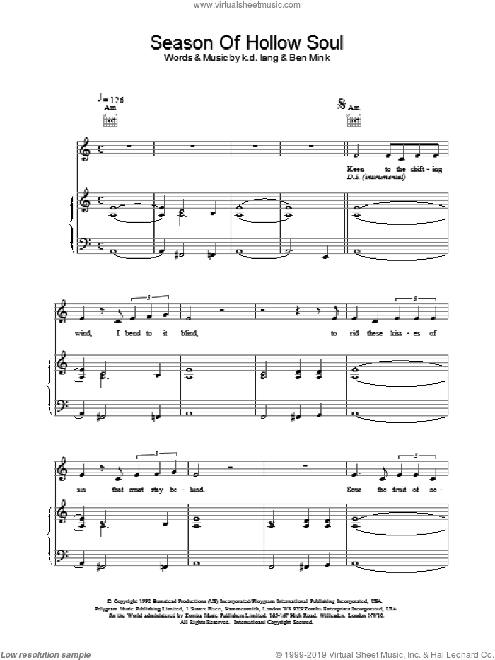 Season of Hollow Soul sheet music for voice, piano or guitar by K.D. Lang, intermediate. Score Image Preview.