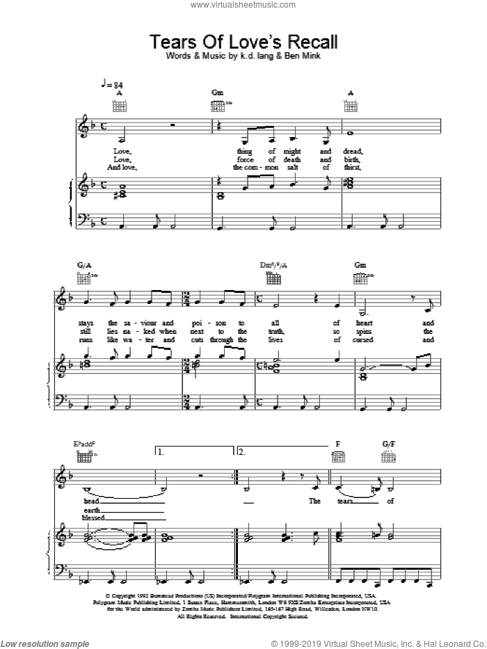 Tears of Love's Recall sheet music for voice, piano or guitar by K.D. Lang, intermediate. Score Image Preview.