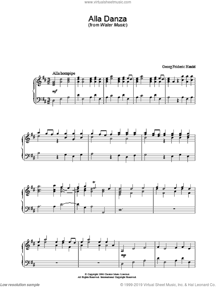 Alla Danza sheet music for piano solo by George Frideric Handel. Score Image Preview.