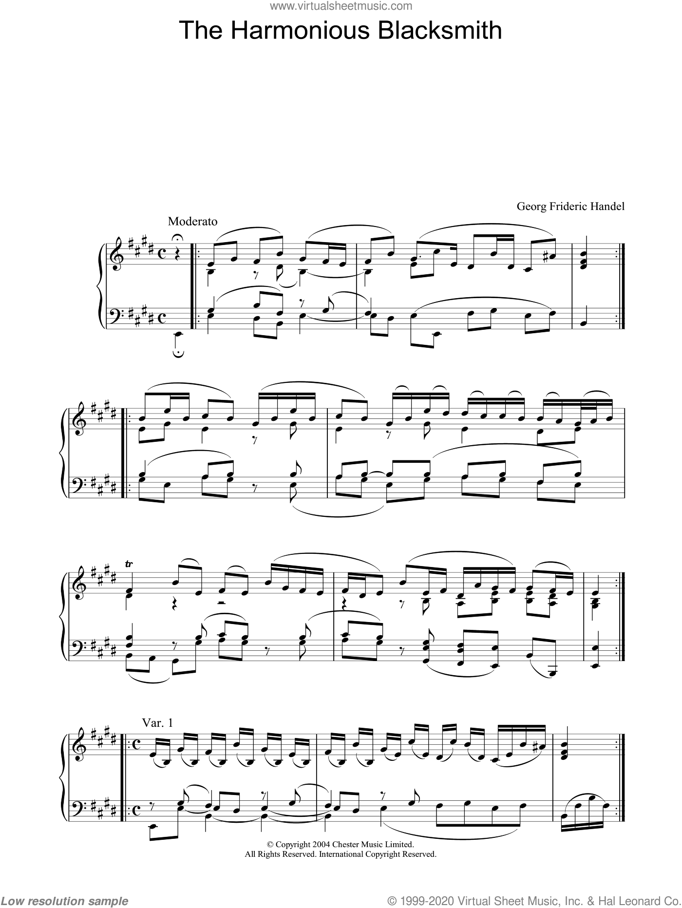 The Harmonious Blacksmith sheet music for piano solo by George Frideric Handel