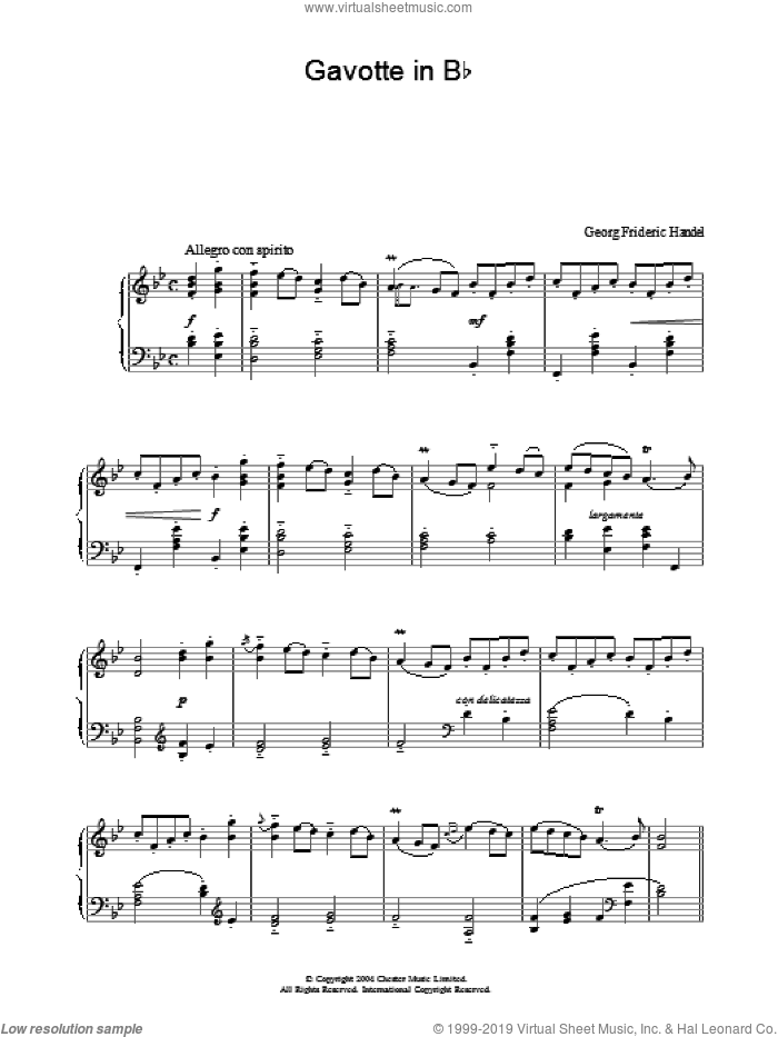 Gavotte In Bb, (intermediate) sheet music for piano solo by George Frideric Handel, classical score, intermediate