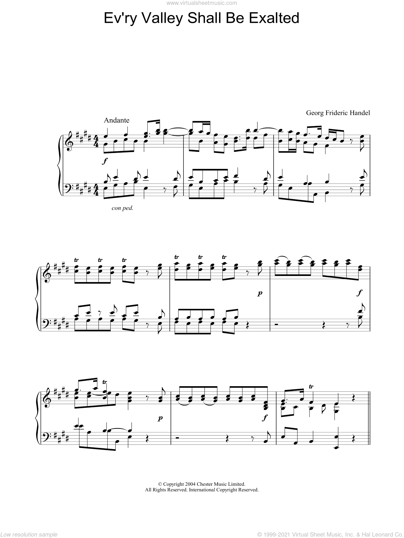 Ev'ry Valley Shall Be Exalted sheet music for piano solo by George Frideric Handel, classical score, intermediate. Score Image Preview.