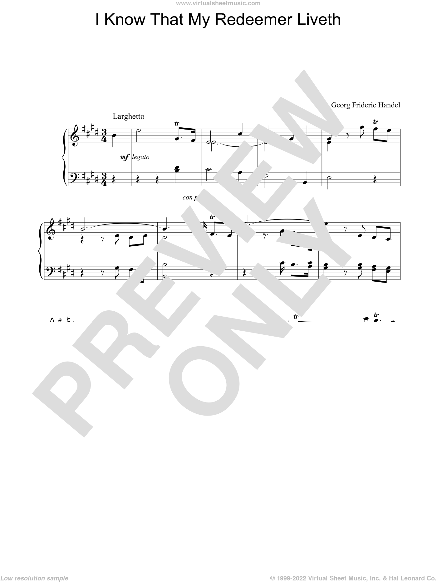 I Know That My Redeemer Liveth sheet music for piano solo by George Frideric Handel, classical score, intermediate skill level
