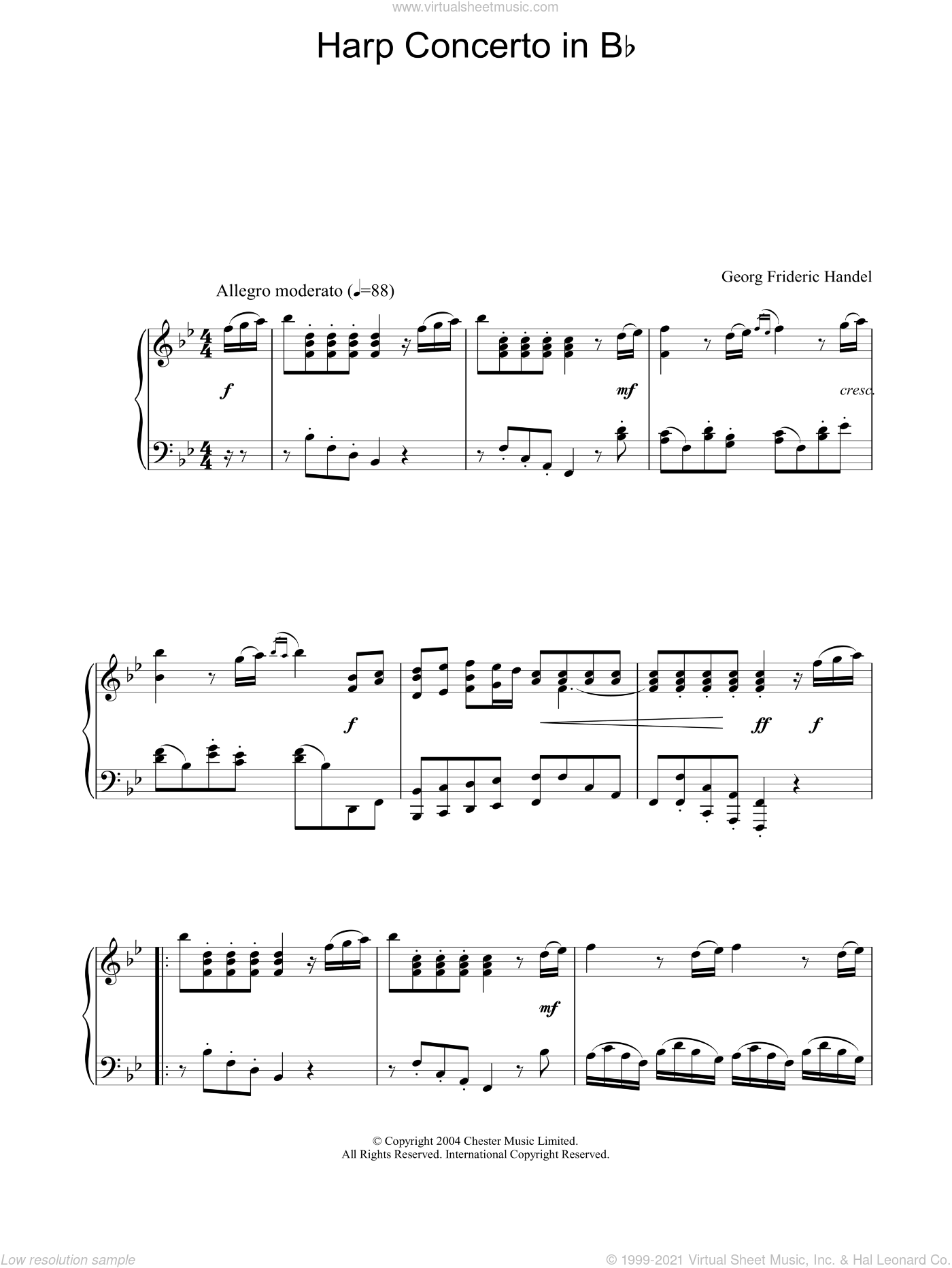 Harp Concerto In Bb sheet music for piano solo by George Frideric Handel, classical score, intermediate. Score Image Preview.