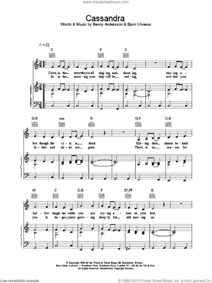 Cassandra sheet music for voice, piano or guitar by ABBA. Score Image Preview.