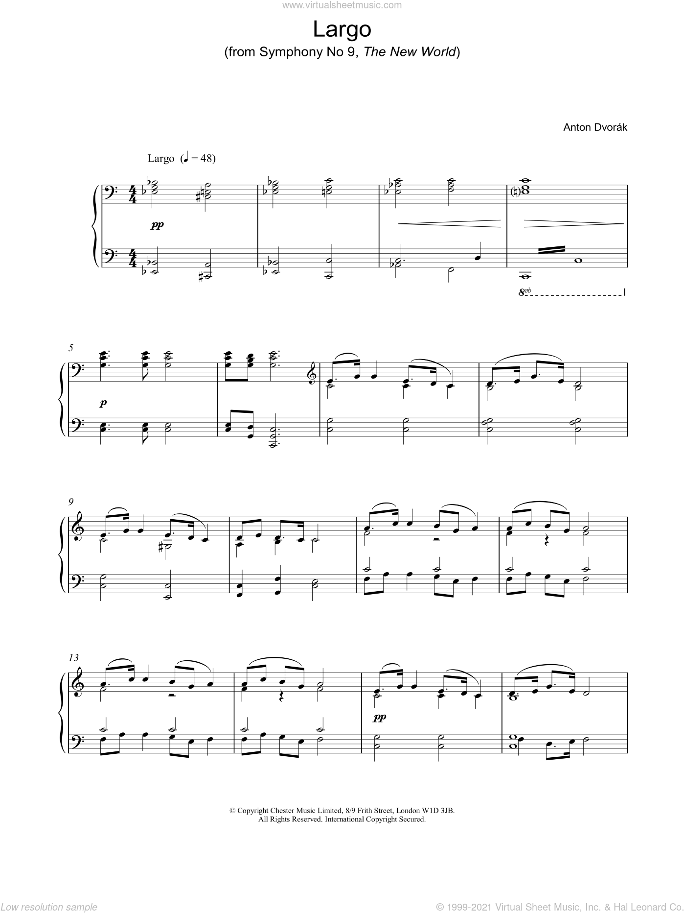Largo sheet music for piano solo by Antonin Dvorak. Score Image Preview.