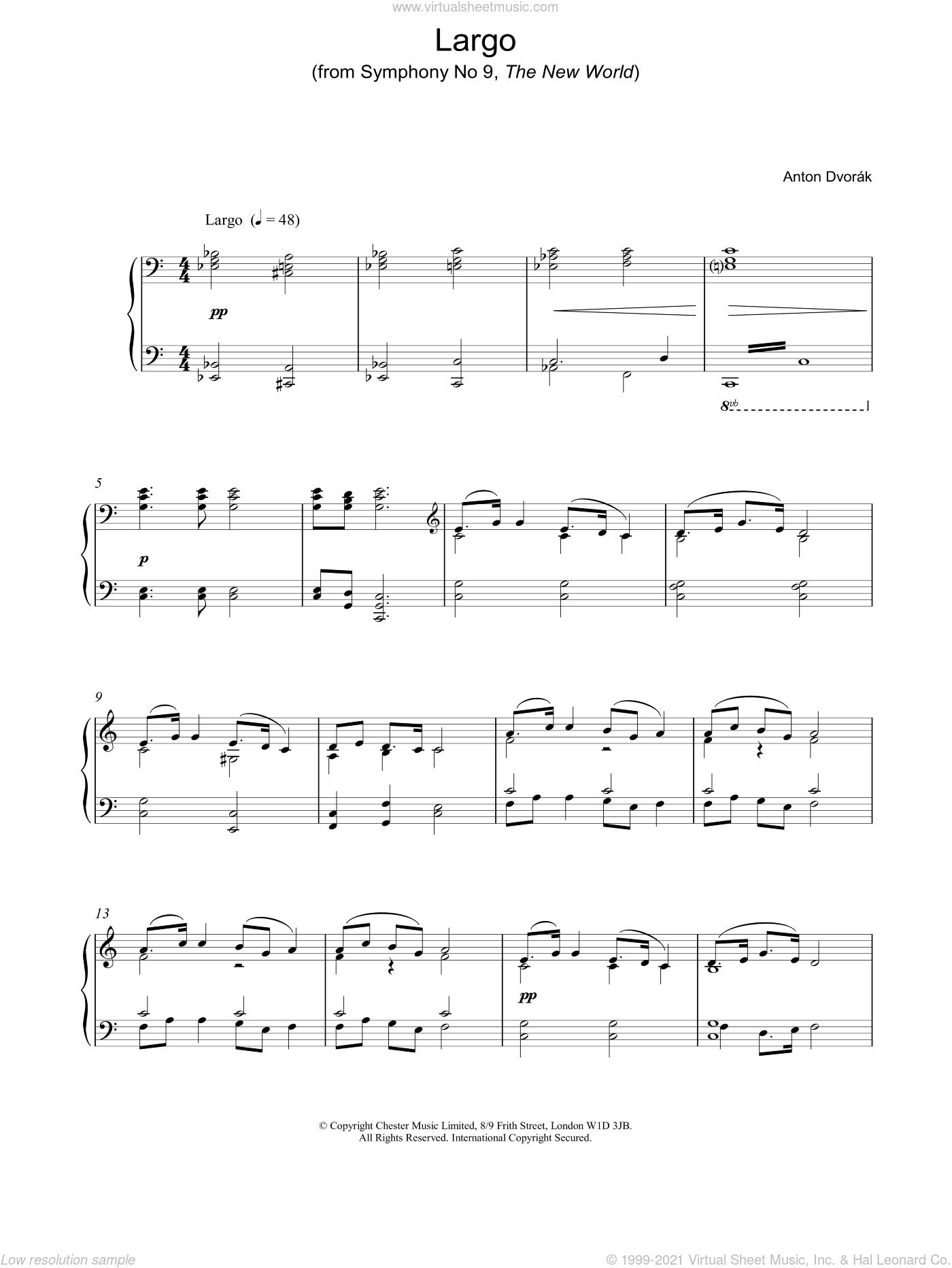 Largo sheet music for piano solo by Antonin Dvorak, classical score, intermediate skill level