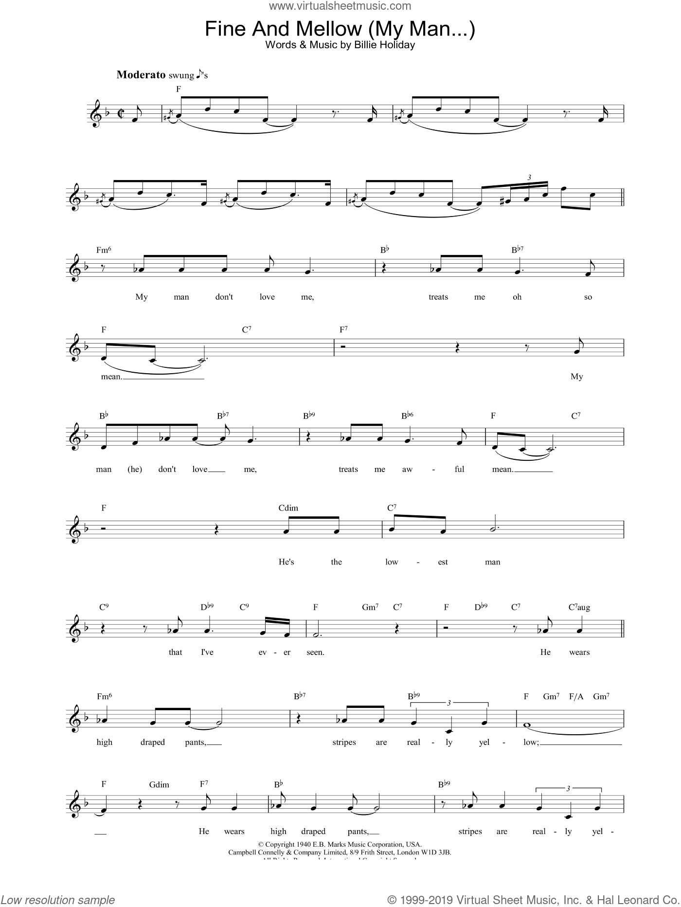 Fine And Mellow (My Man...) sheet music for voice and other instruments (fake book) by Billie Holiday, intermediate. Score Image Preview.
