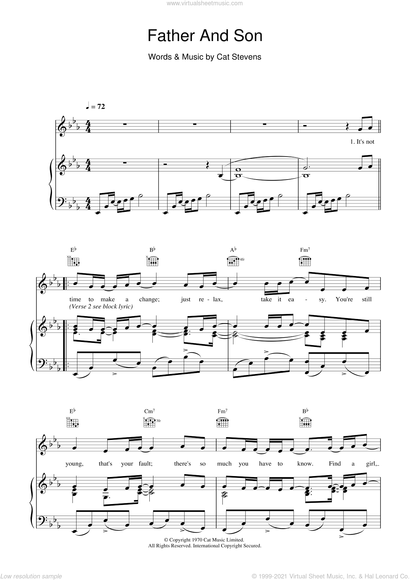 Father And Son sheet music for voice, piano or guitar by Boyzone, Johnny Cash and Cat Stevens. Score Image Preview.