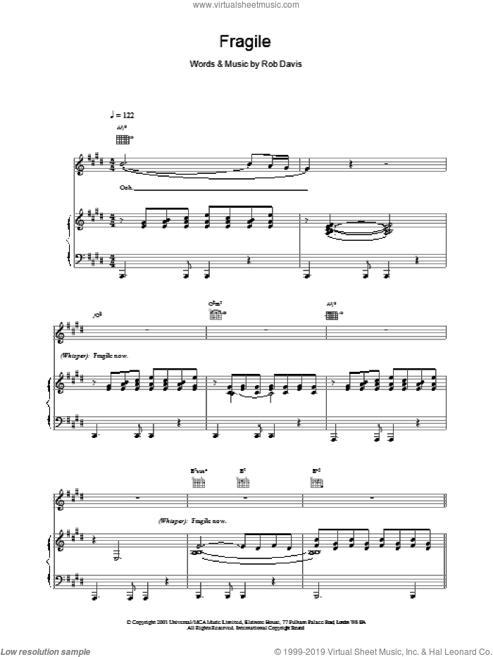 Fragile sheet music for voice, piano or guitar by Kylie Minogue, intermediate. Score Image Preview.