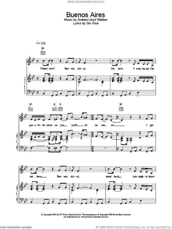 Buenos Aires sheet music for voice, piano or guitar by Tim Rice, Madonna and Andrew Lloyd Webber. Score Image Preview.