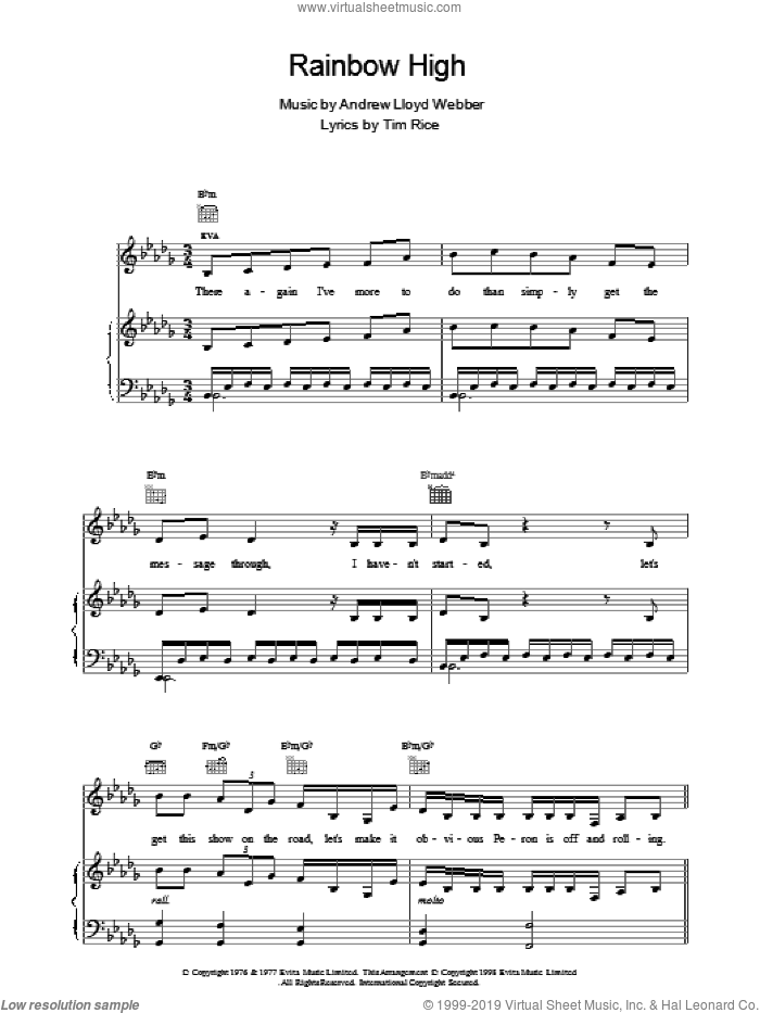 Rainbow High sheet music for voice, piano or guitar by Andrew Lloyd Webber, Madonna and Tim Rice, intermediate voice, piano or guitar. Score Image Preview.
