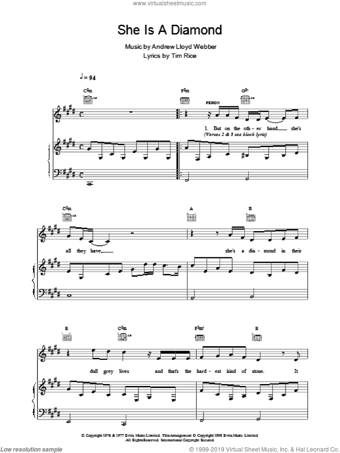She Is A Diamond sheet music for voice, piano or guitar by Andrew Lloyd Webber and Tim Rice, intermediate. Score Image Preview.