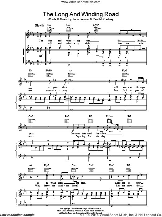 The Long And Winding Road sheet music for voice, piano or guitar by The Beatles. Score Image Preview.