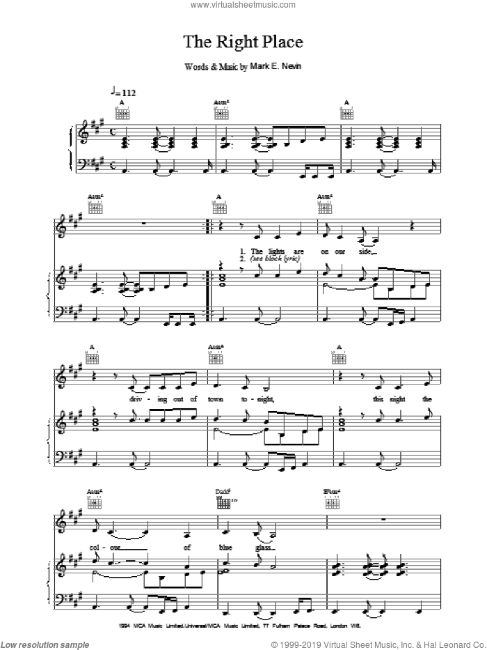 The Right Place sheet music for voice, piano or guitar by Eddi Reader. Score Image Preview.