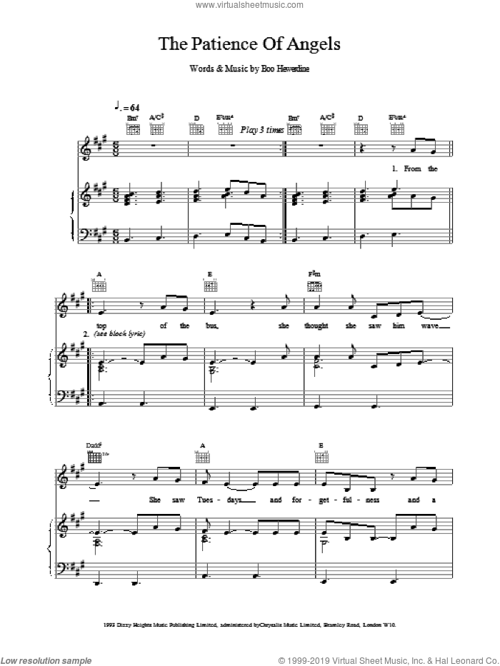 The Patience Of Angels sheet music for voice, piano or guitar by Eddi Reader, intermediate