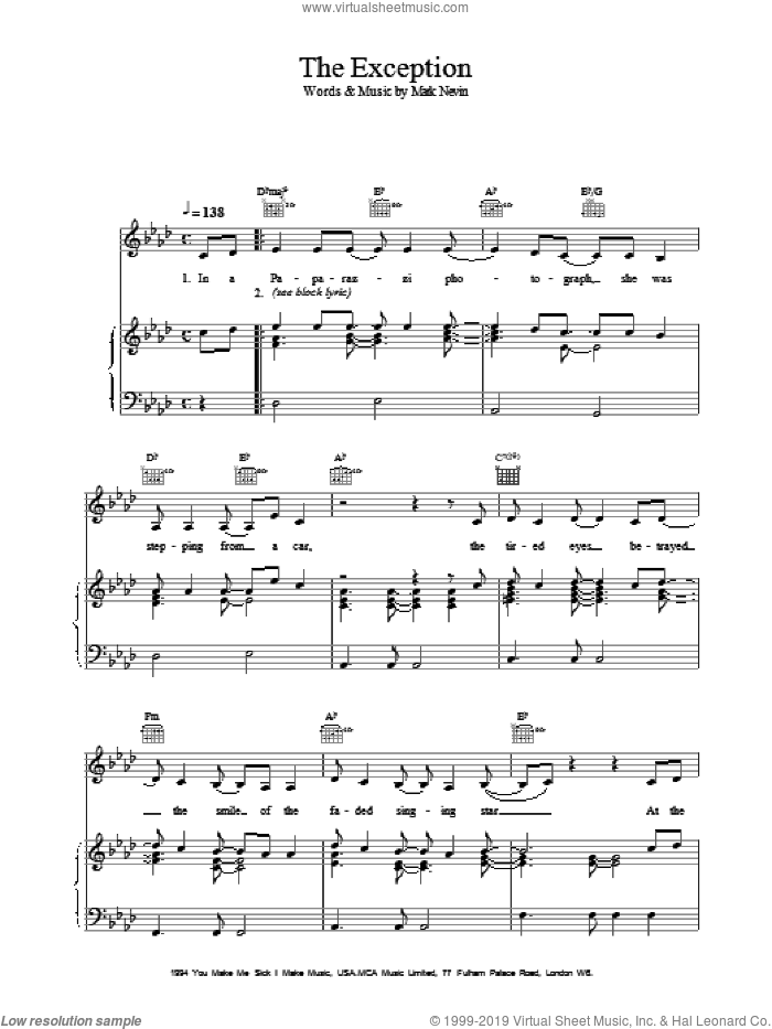 The Exception sheet music for voice, piano or guitar by Eddi Reader, intermediate skill level