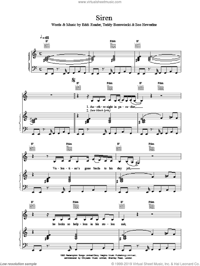 Siren sheet music for voice, piano or guitar by Eddi Reader, intermediate skill level