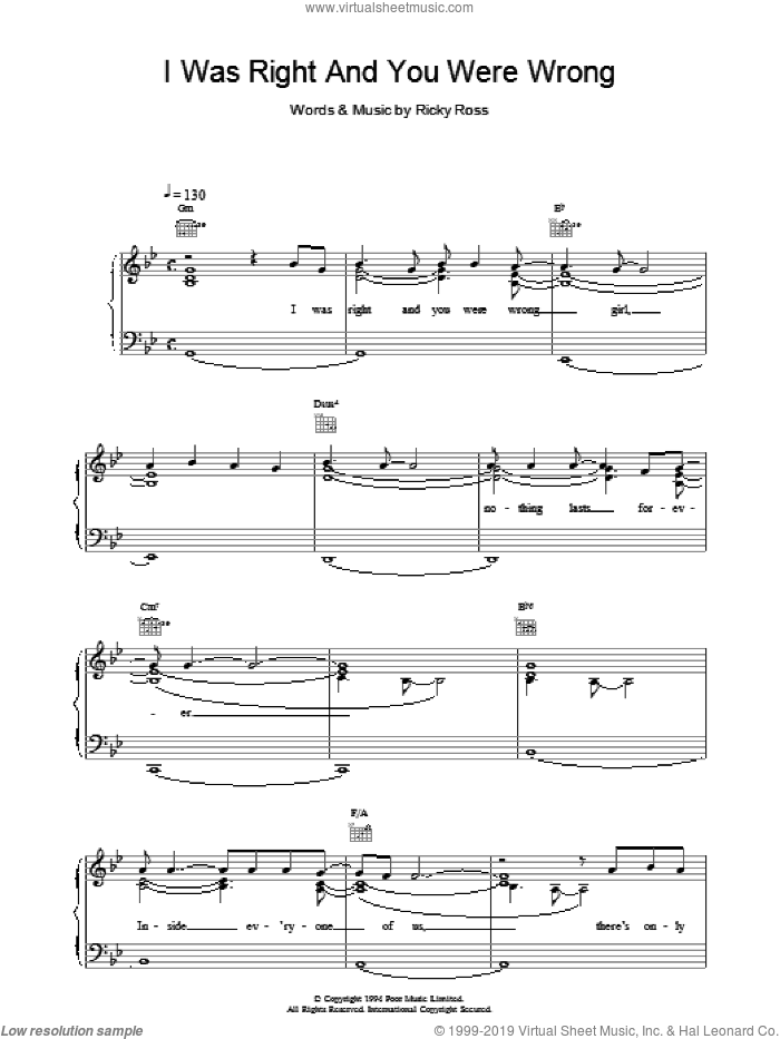 I Was Right And You Were Wrong sheet music for voice, piano or guitar by Deacon Blue. Score Image Preview.