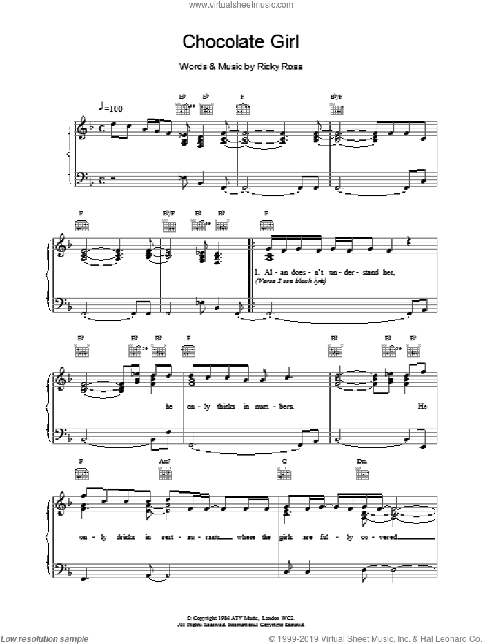 Chocolate Girl sheet music for voice, piano or guitar by Deacon Blue. Score Image Preview.