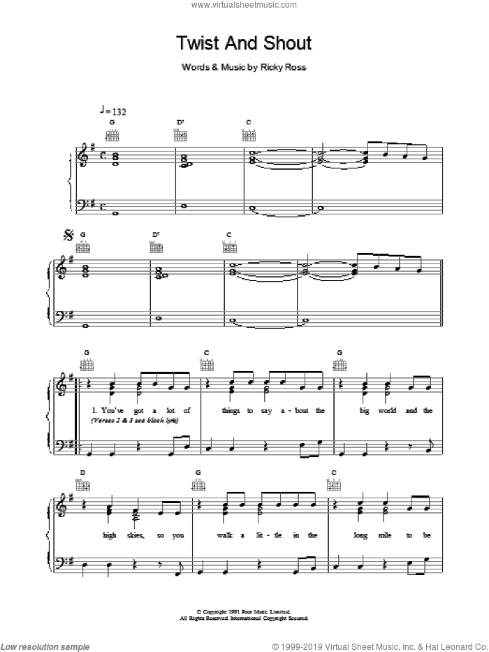 Twist And Shout sheet music for voice, piano or guitar by Deacon Blue. Score Image Preview.