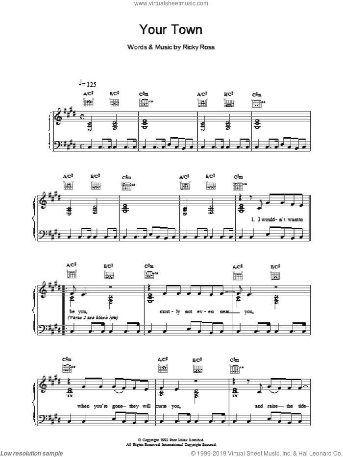 Your Town sheet music for voice, piano or guitar by Deacon Blue. Score Image Preview.