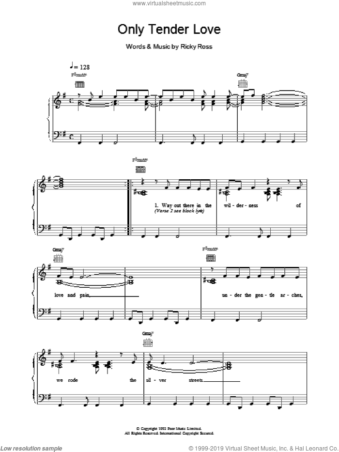 Only Tender Love sheet music for voice, piano or guitar by Deacon Blue. Score Image Preview.